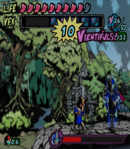 In-game screen of the game Viewtiful Joe on Sony Playstation 2