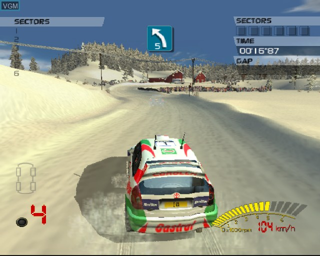 In-game screen of the game V-Rally 3 on Sony Playstation 2