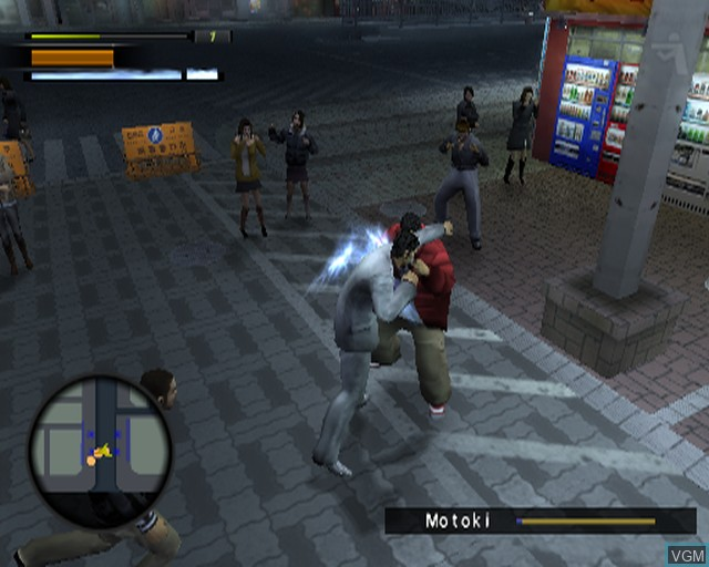 In-game screen of the game Yakuza 2 on Sony Playstation 2