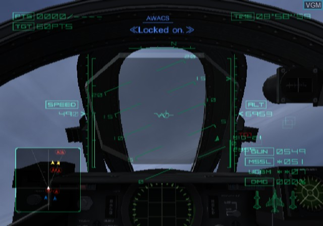 In-game screen of the game Ace Combat 04 - Shattered Skies on Sony Playstation 2