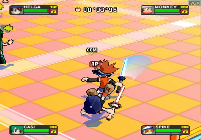 In-game screen of the game Ape Escape - Pumped & Primed on Sony Playstation 2