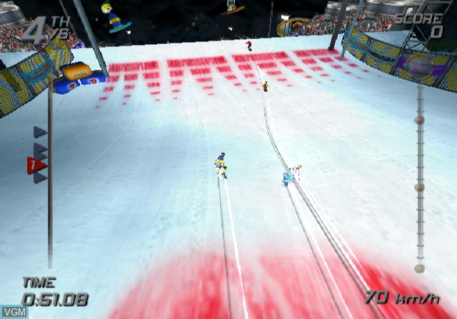 In-game screen of the game SSX on Sony Playstation 2