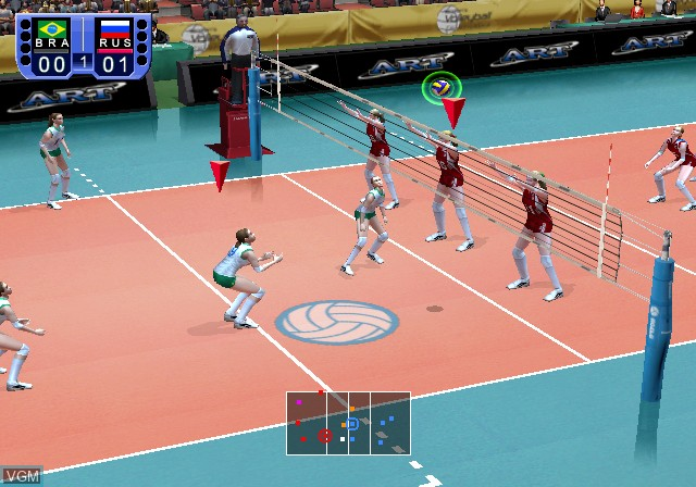 In-game screen of the game Women's Volleyball Championship on Sony Playstation 2