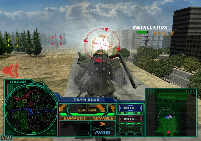 In-game screen of the game Zeonic Front - Kidou Senshi Gundam 0079 on Sony Playstation 2