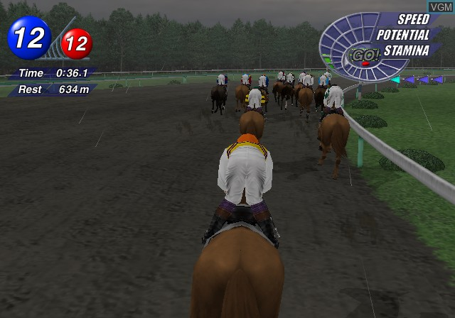In-game screen of the game G1 Jockey 2 2001 on Sony Playstation 2