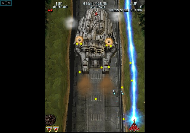 In-game screen of the game Raiden III on Sony Playstation 2