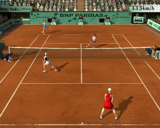 In-game screen of the game Roland Garros 2005 - Powered by Smash Court Tennis on Sony Playstation 2