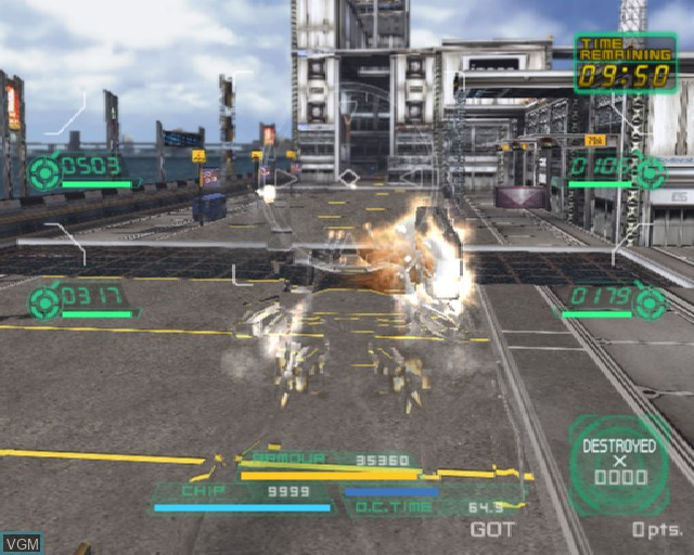 In-game screen of the game S.L.A.I. - Steel Lancer Arena International on Sony Playstation 2