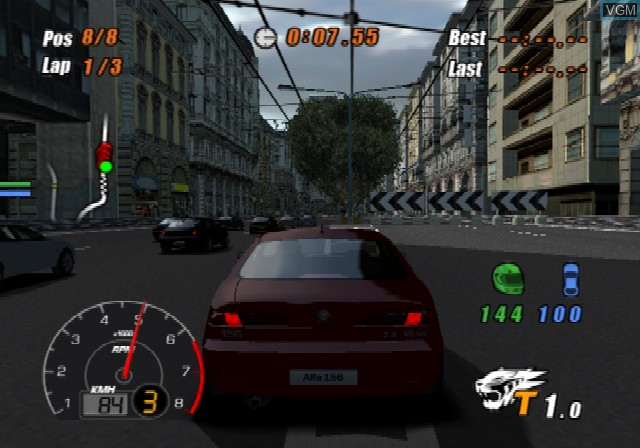 In-game screen of the game S.C.A.R. - Squadra Corse Alfa Romeo on Sony Playstation 2