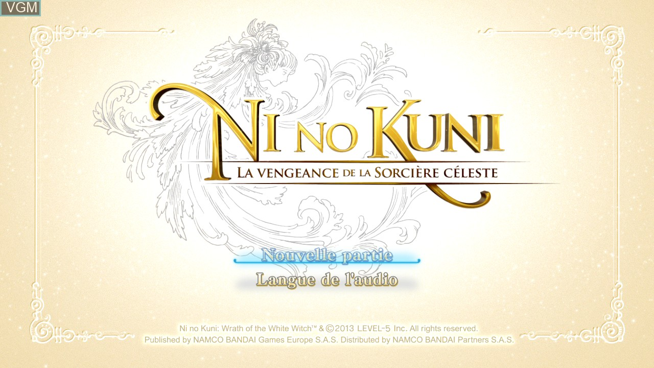 Title screen of the game Ni no Kuni - Wrath of the White Witch on Sony Playstation 3