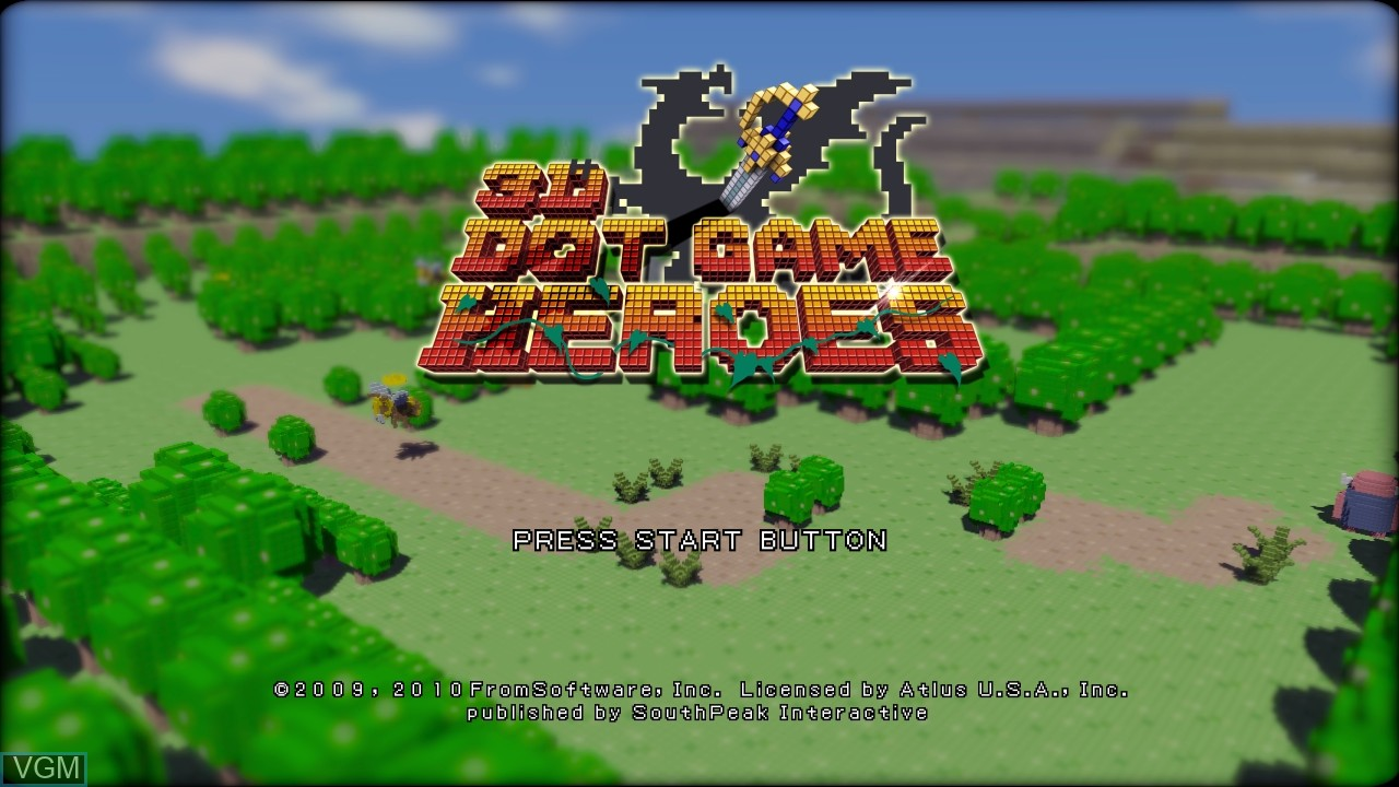Title screen of the game 3D Dot Game Heroes on Sony Playstation 3