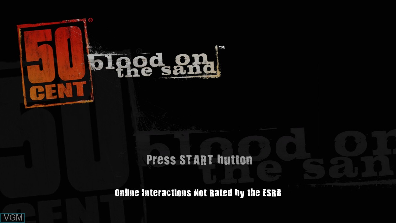 Title screen of the game 50 Cent - Blood on the Sand on Sony Playstation 3