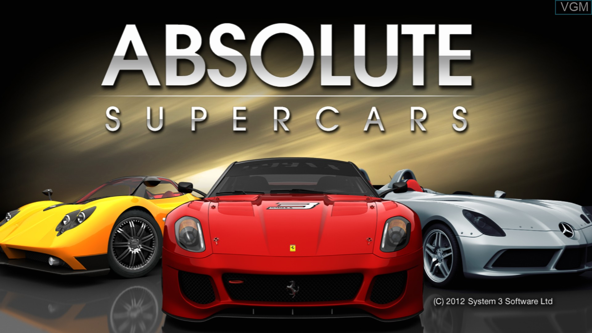 Title screen of the game Absolute Supercars on Sony Playstation 3