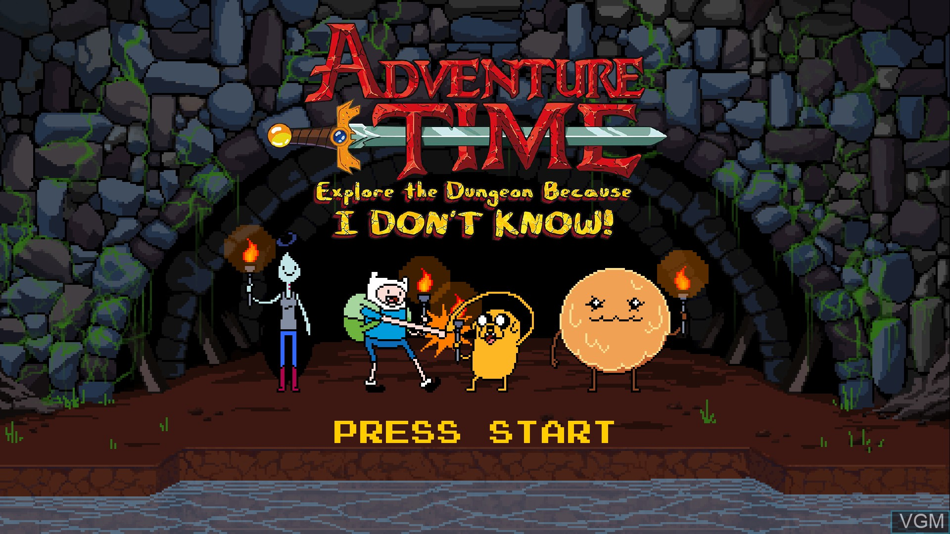 Title screen of the game Adventure Time - Explore the Dungeon Because I DON'T KNOW! on Sony Playstation 3