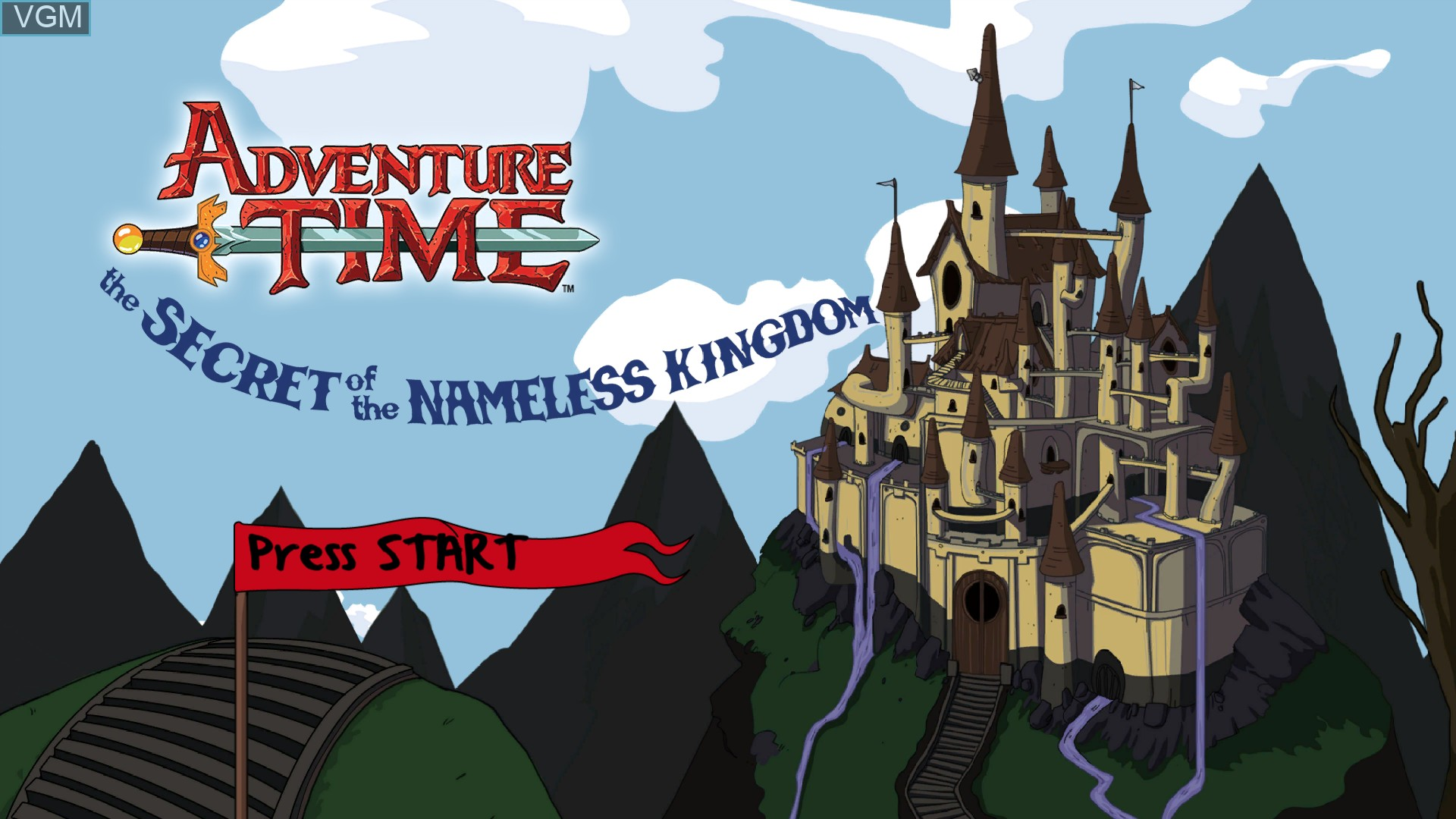 Title screen of the game Adventure Time - The Secret of the Nameless Kingdom on Sony Playstation 3