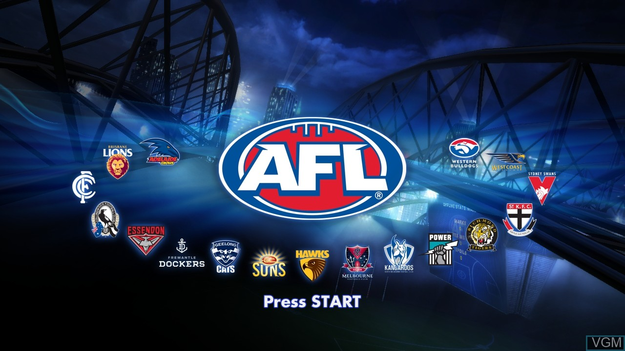 Title screen of the game AFL Live on Sony Playstation 3