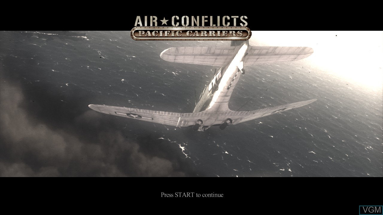 Title screen of the game Air Conflicts - Pacific Carriers on Sony Playstation 3