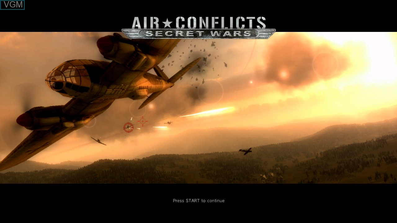 Title screen of the game Air Conflicts - Secret Wars on Sony Playstation 3