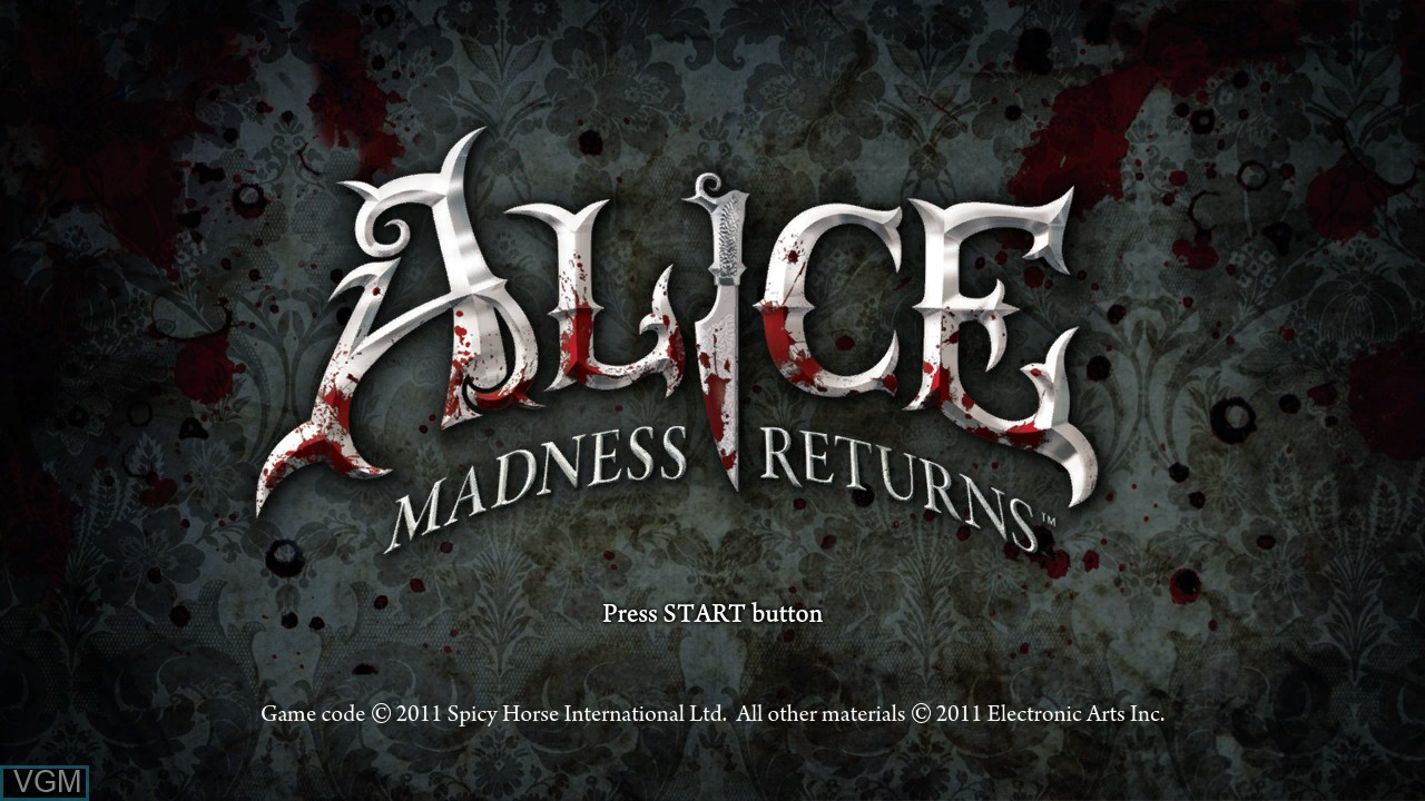 Title screen of the game Alice - Madness Returns on Sony Playstation 3