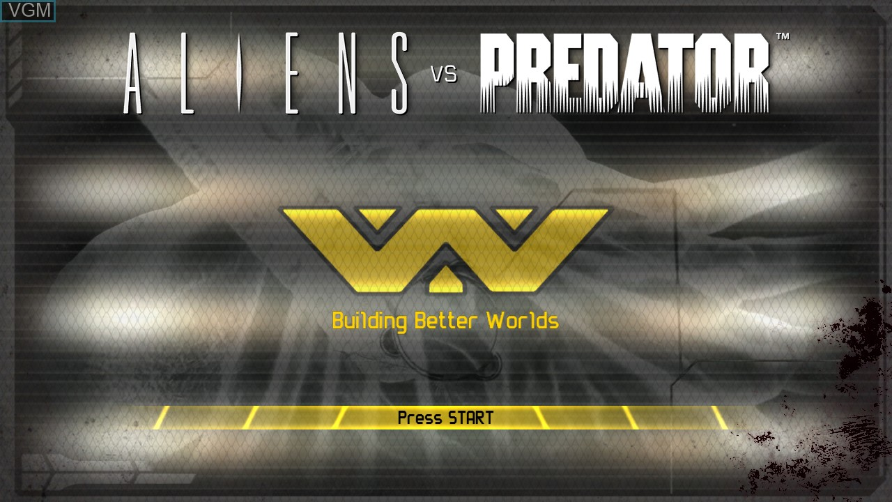 Title screen of the game Aliens vs. Predator on Sony Playstation 3