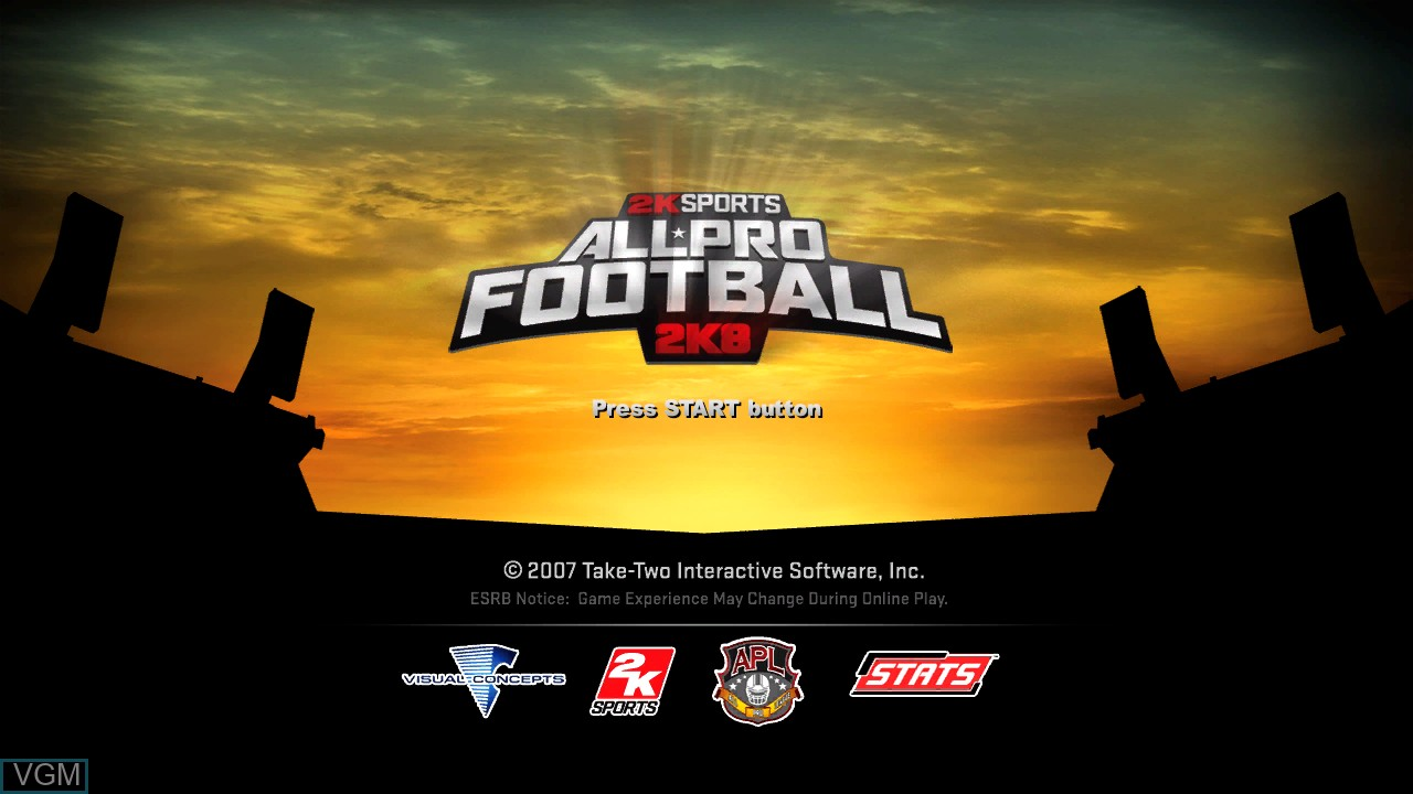 Title screen of the game All-Pro Football 2K8 on Sony Playstation 3