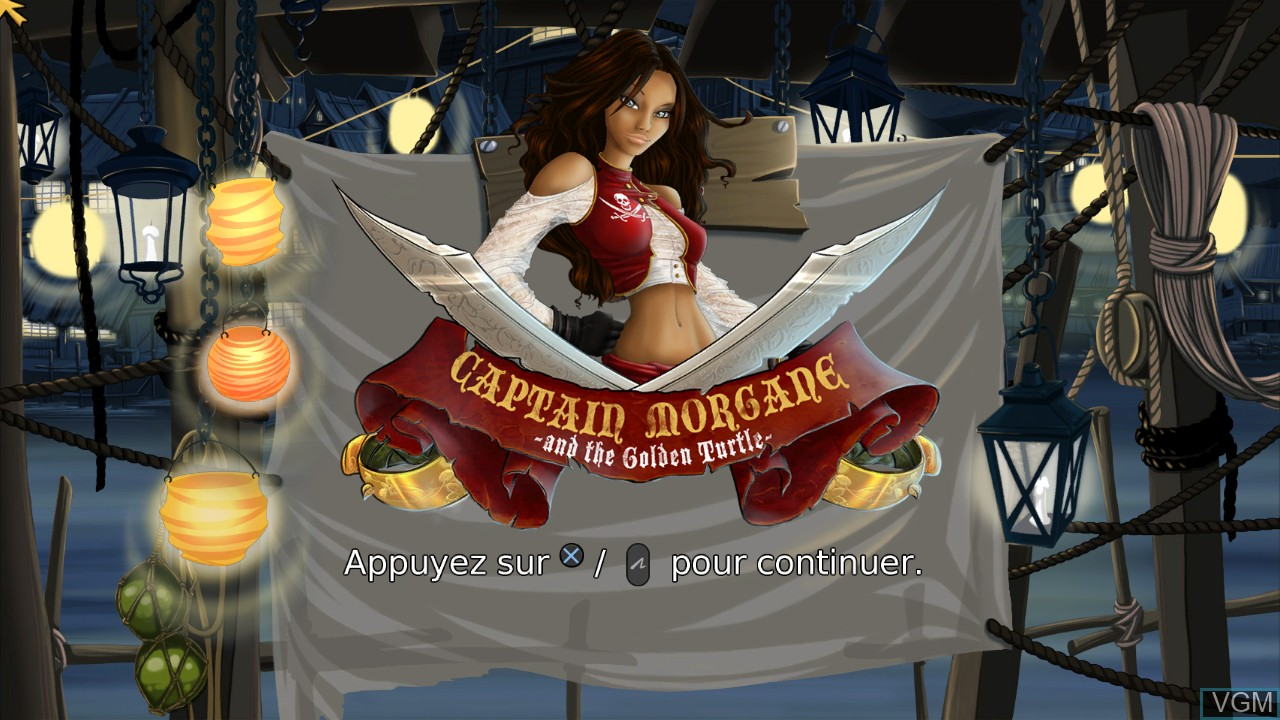 Title screen of the game Captain Morgane and the Golden Turtle on Sony Playstation 3