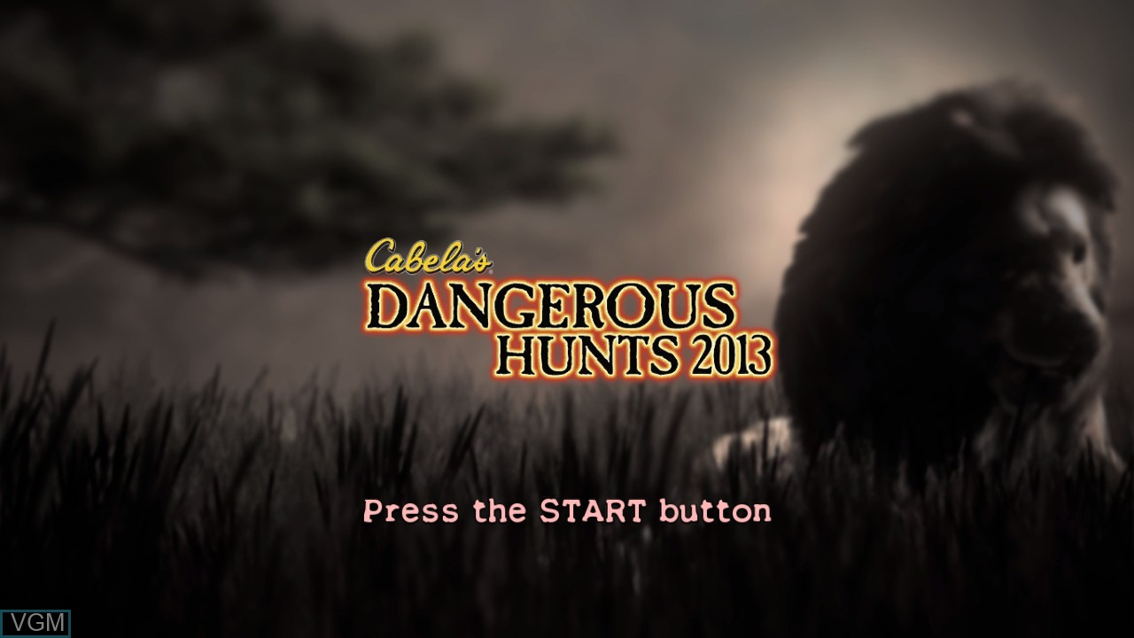 Title screen of the game Cabela's Dangerous Hunts 2013 on Sony Playstation 3