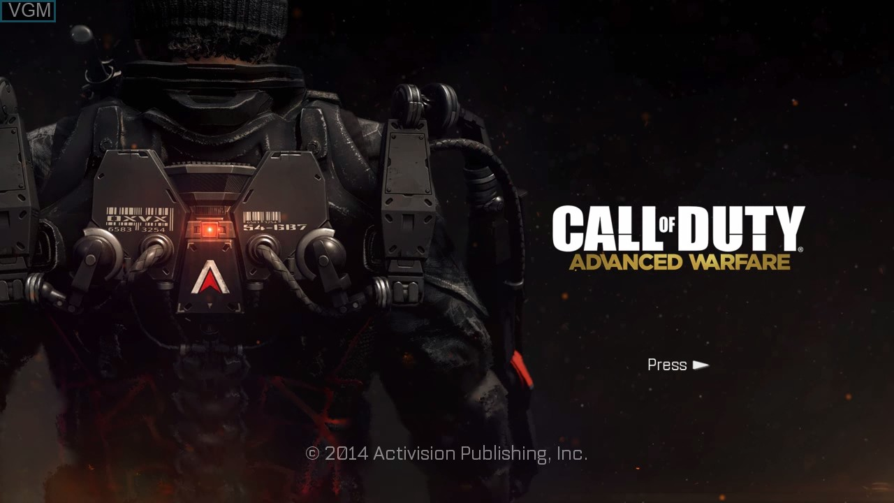 Title screen of the game Call of Duty - Advanced Warfare on Sony Playstation 3
