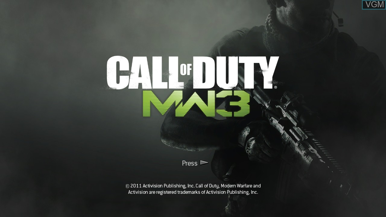 Title screen of the game Call of Duty - Modern Warfare 3 on Sony Playstation 3
