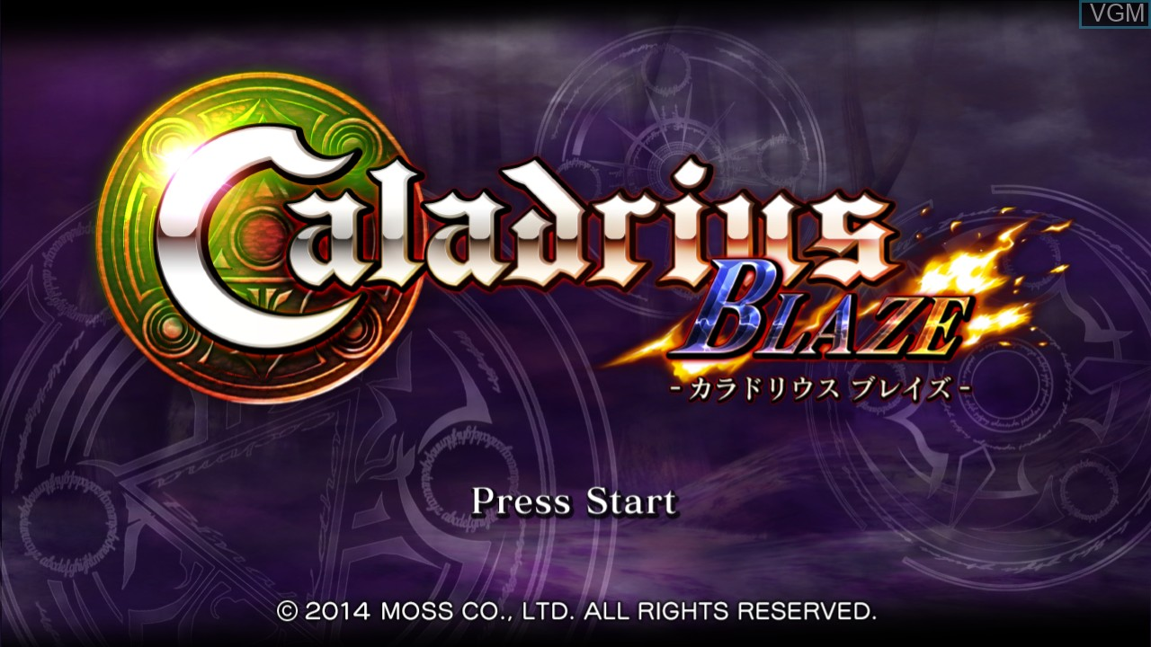 Title screen of the game Caladrius Blaze on Sony Playstation 3