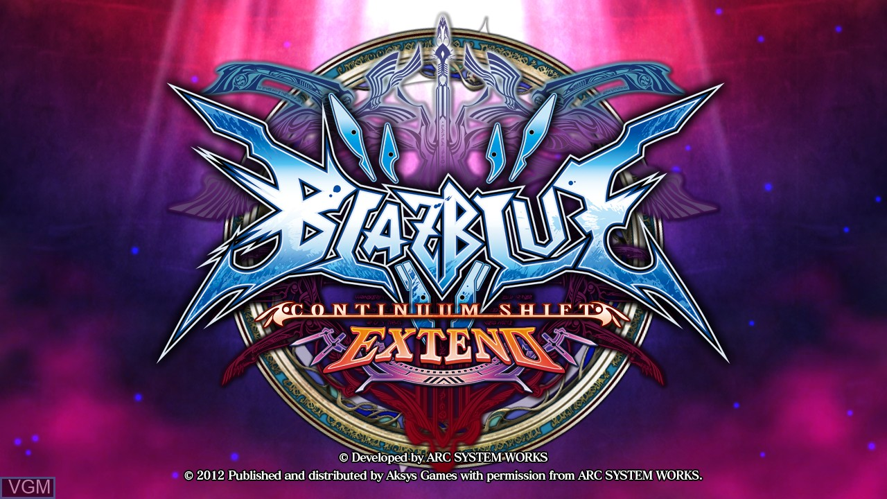 Title screen of the game BlazBlue - Continuum Shift Extend on Sony Playstation 3
