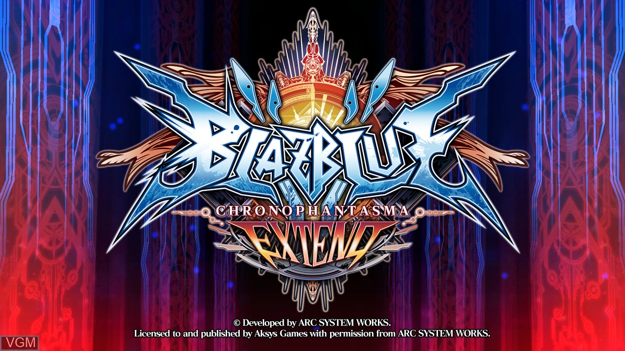 Title screen of the game BlazBlue - Chrono Phantasma Extend on Sony Playstation 3