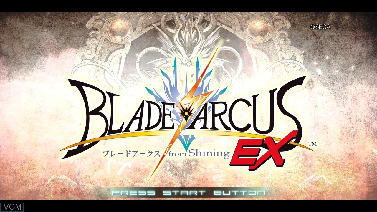 Title screen of the game Blade Arcus from Shining EX on Sony Playstation 3