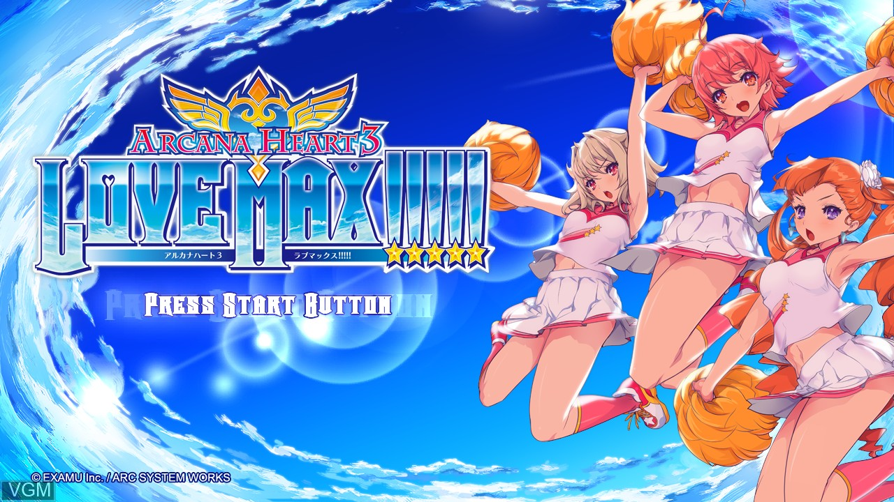Title screen of the game Arcana Heart 3 - LOVE MAX!!!!! on Sony Playstation 3