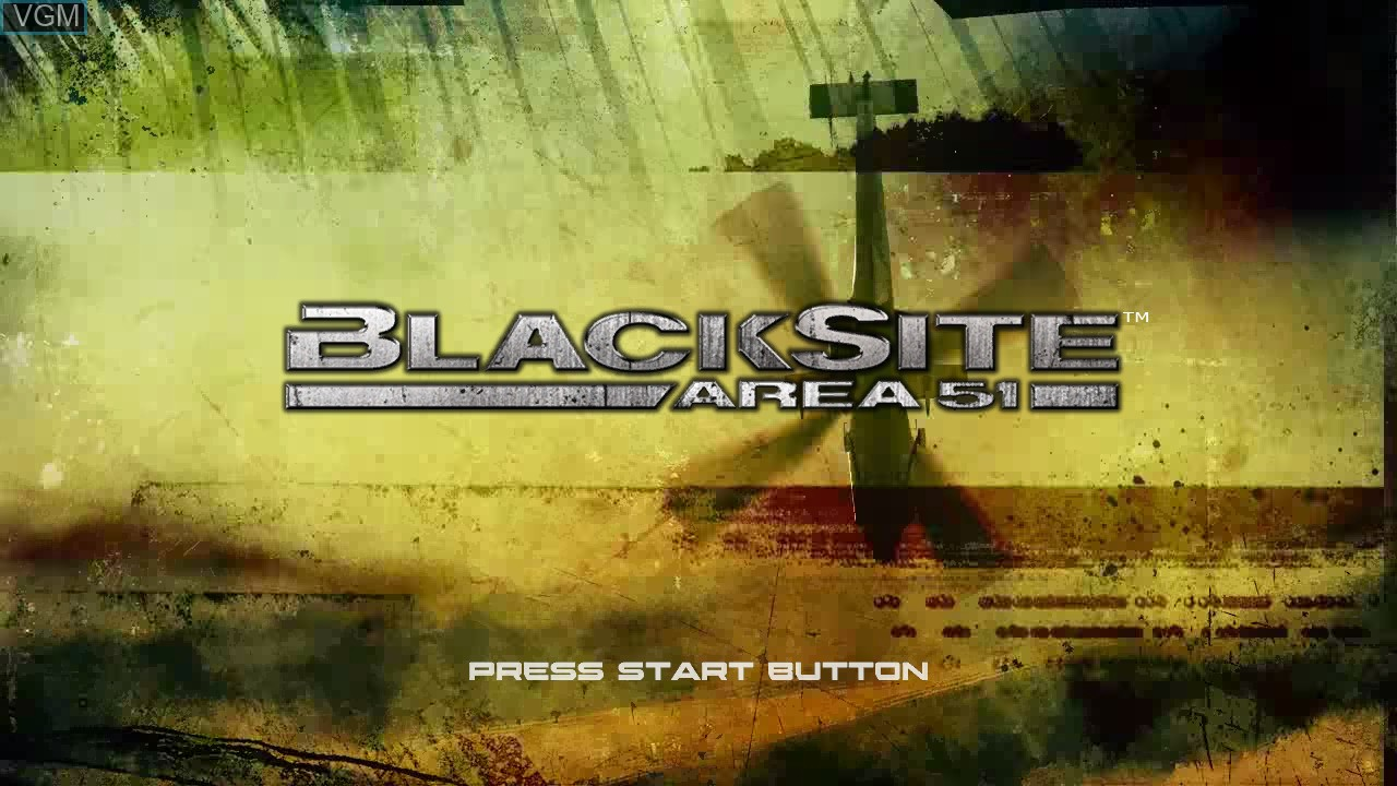 Title screen of the game BlackSite - Area 51 on Sony Playstation 3