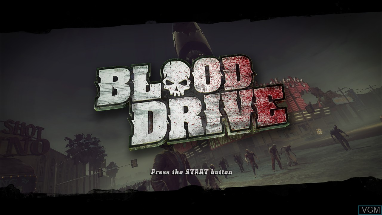 Title screen of the game Blood Drive on Sony Playstation 3