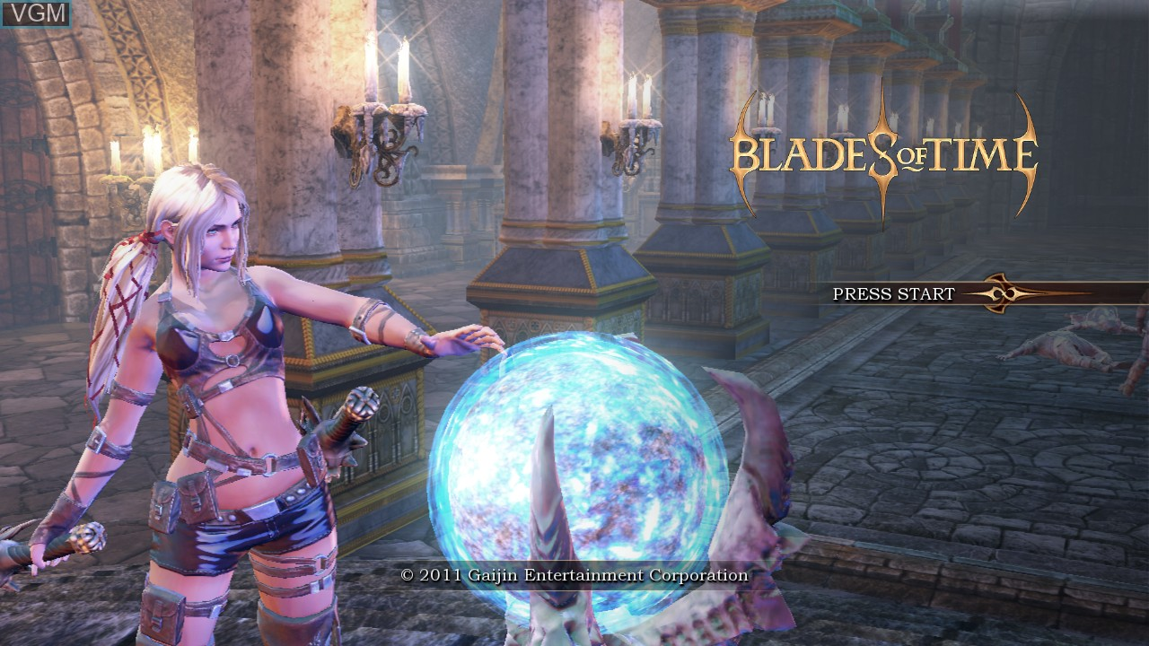 Title screen of the game Blades of Time on Sony Playstation 3