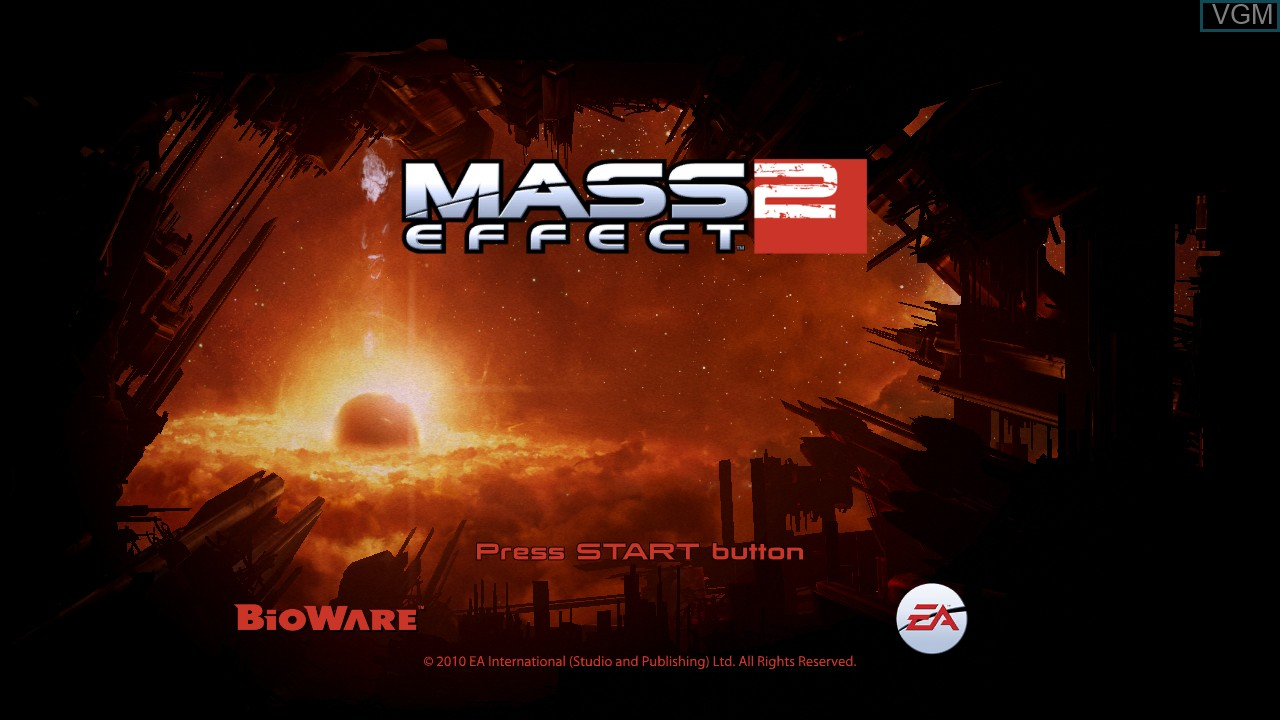 Title screen of the game Mass Effect 2 on Sony Playstation 3