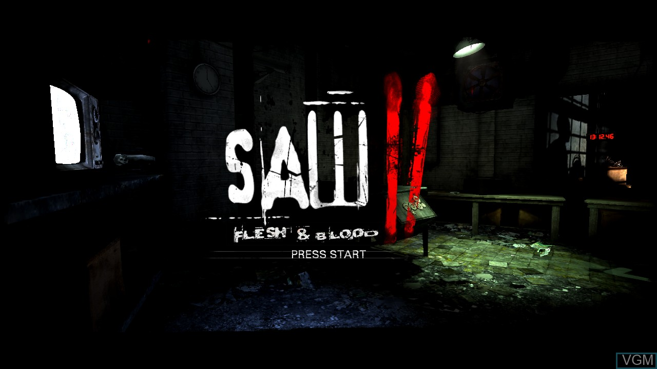 Title screen of the game Saw II - Flesh & Blood on Sony Playstation 3