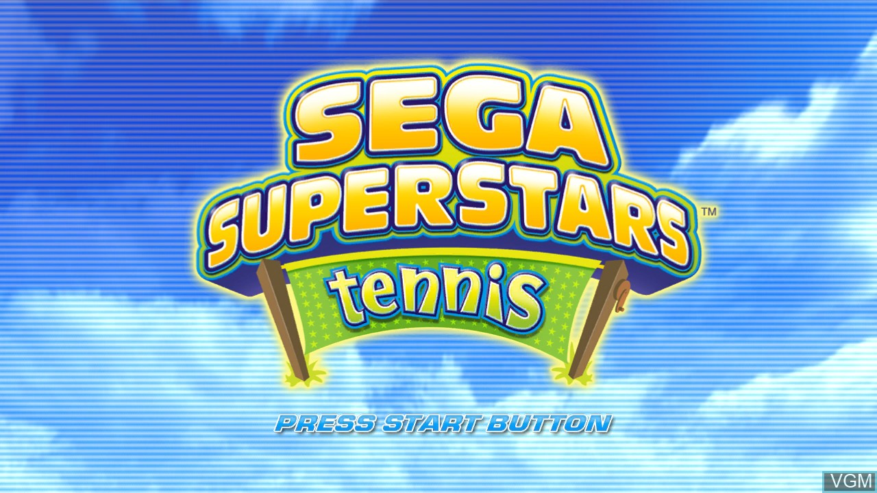 Title screen of the game Sega Superstars Tennis on Sony Playstation 3