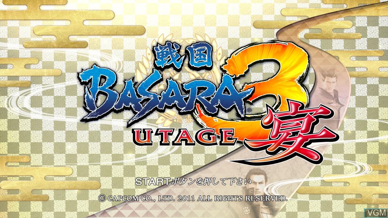 Title screen of the game Sengoku Basara 3 Utage on Sony Playstation 3