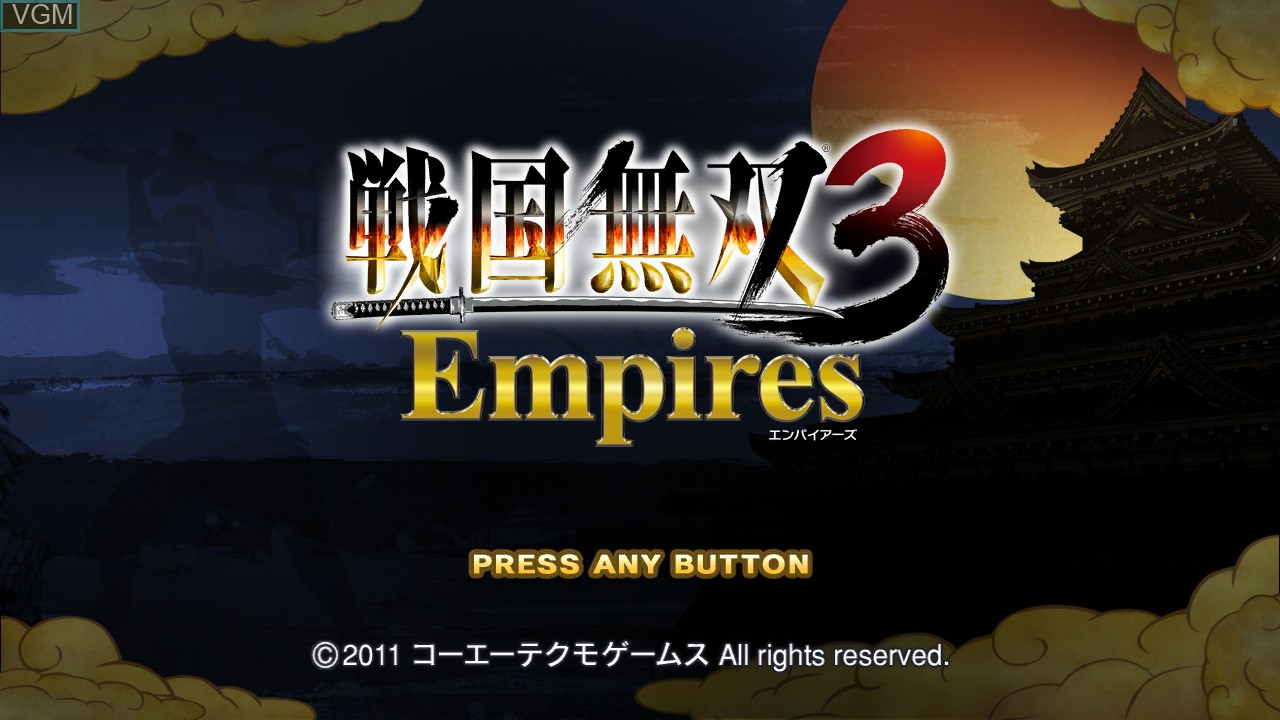 Title screen of the game Sengoku Musou 3 Empires on Sony Playstation 3