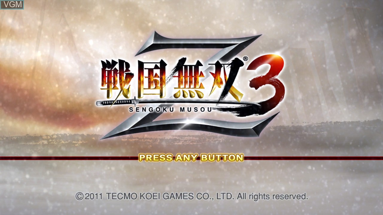 Title screen of the game Sengoku Musou 3 Z on Sony Playstation 3