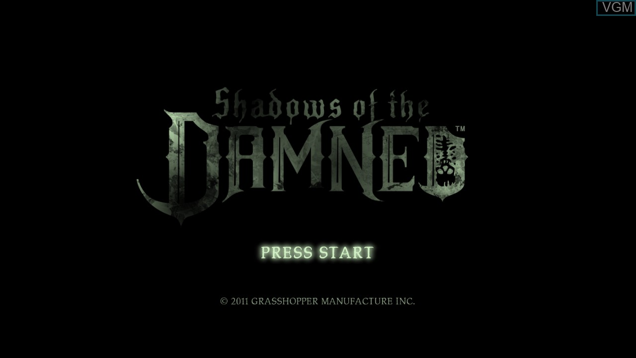 Title screen of the game Shadows of the Damned on Sony Playstation 3