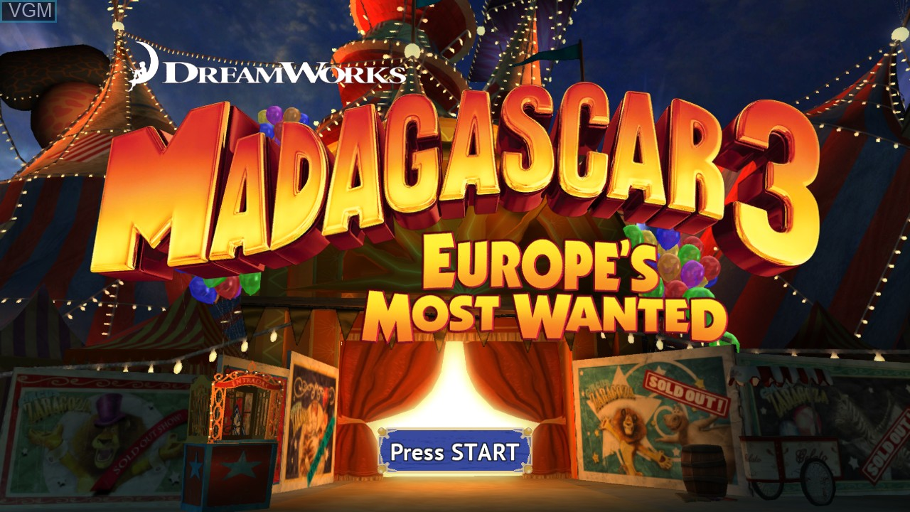 Title screen of the game Madagascar 3 - The Video Game on Sony Playstation 3