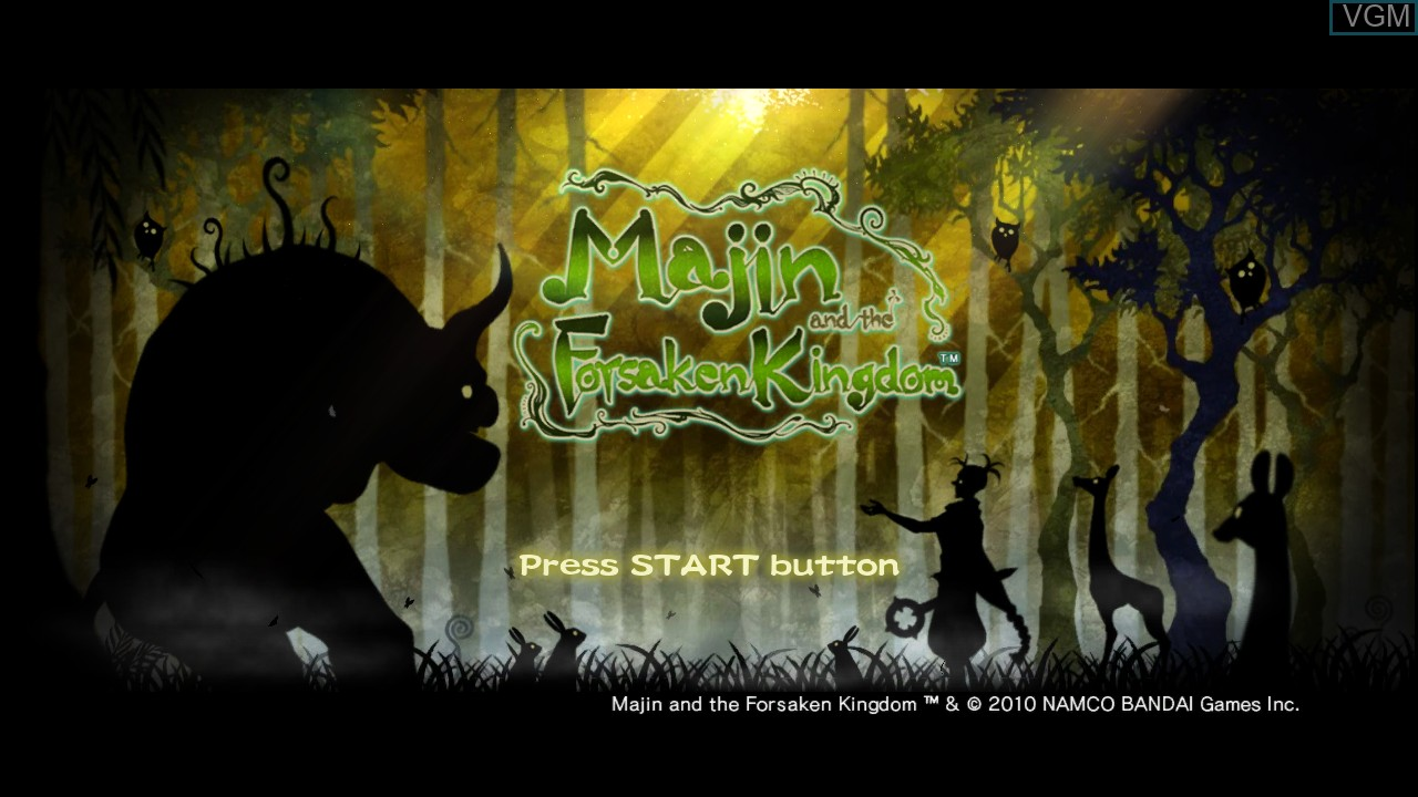 Title screen of the game Majin and the Forsaken Kingdom on Sony Playstation 3