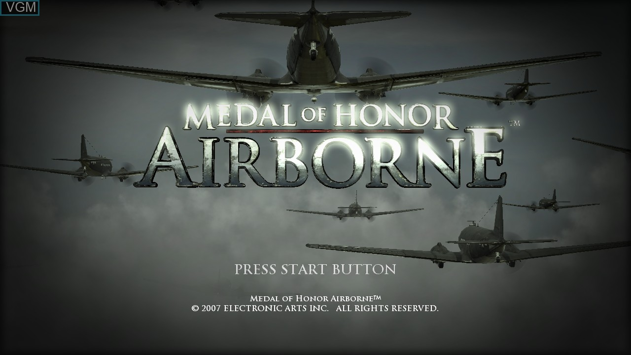 Title screen of the game Medal of Honor - Airborne on Sony Playstation 3