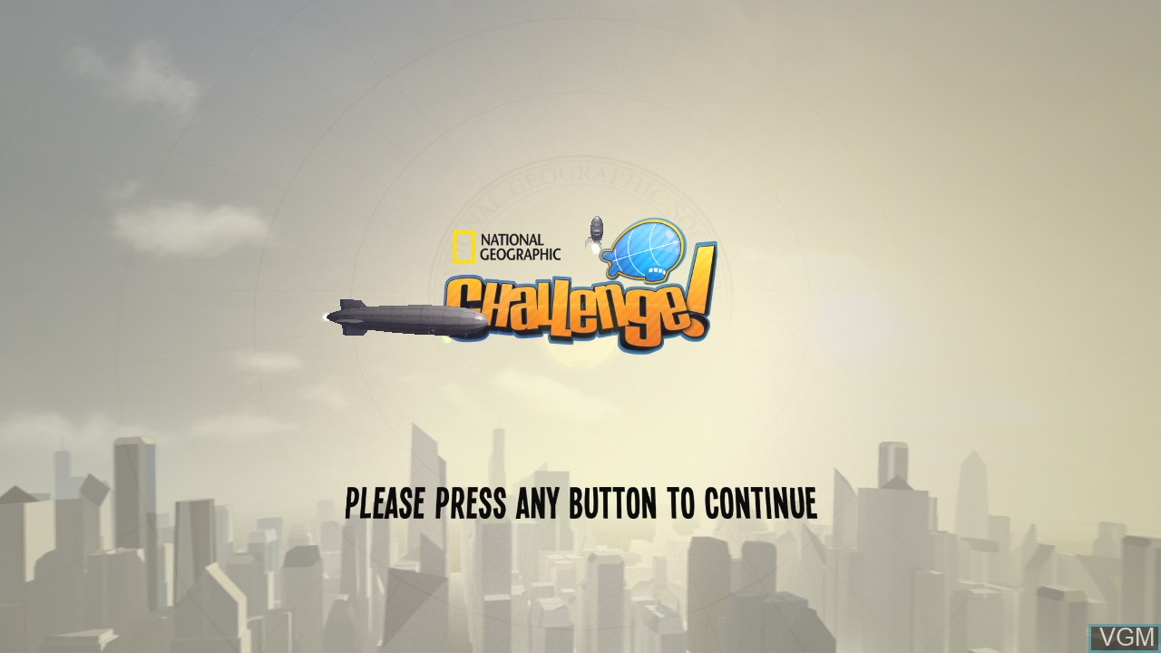 Title screen of the game National Geographic Challenge! on Sony Playstation 3