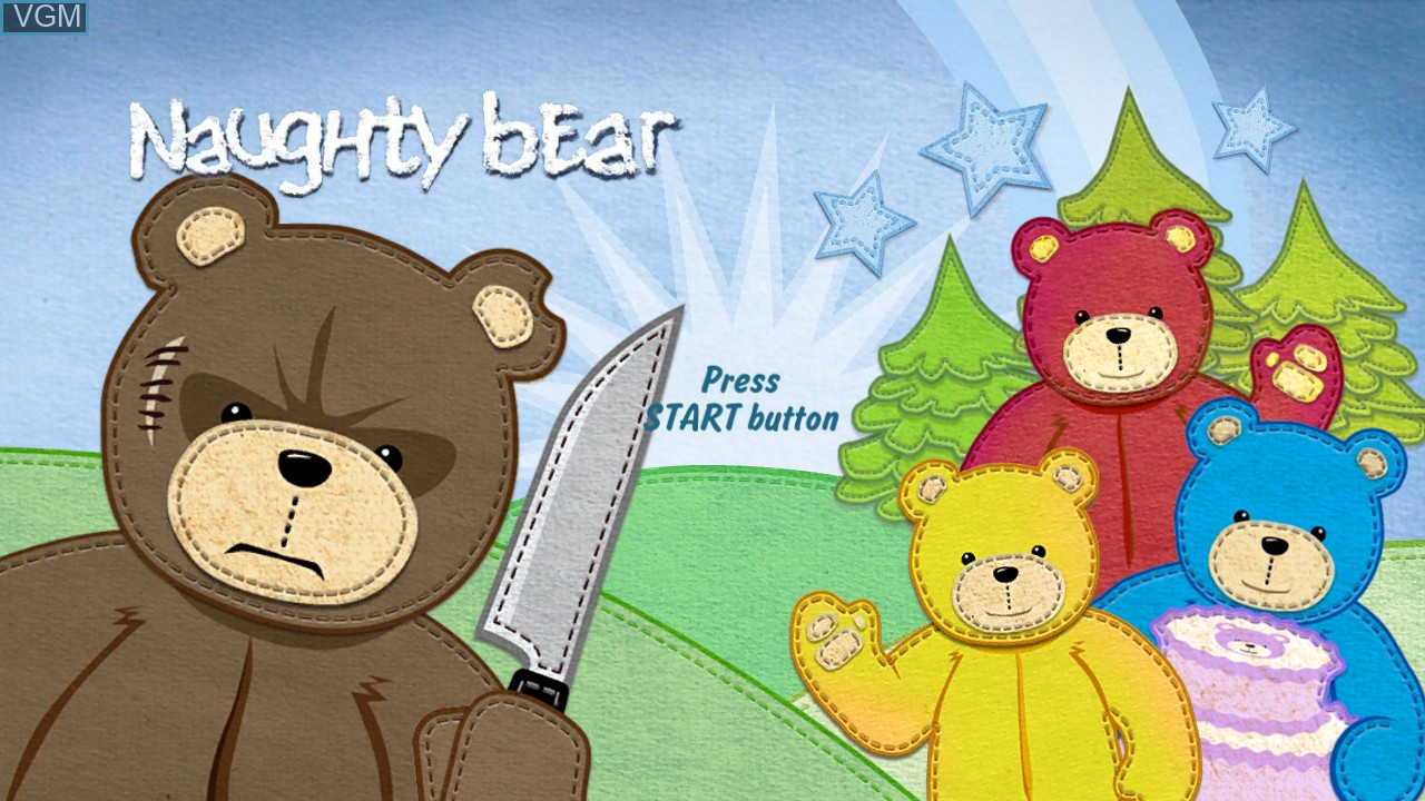 Title screen of the game Naughty Bear on Sony Playstation 3