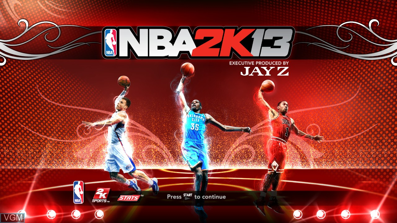 Title screen of the game NBA 2K13 on Sony Playstation 3